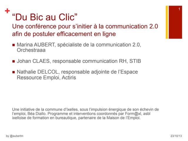 """201310 Maison de l'emploi d'Ixelles : """"Du Bic au Clic"""""""