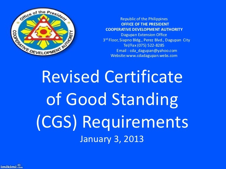 2013 cda requirements for certificate of good standing yadclub Image collections