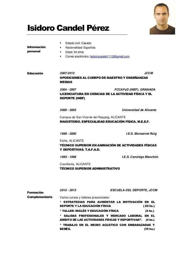 Currículum Vitae Isidoro Candel (Actualizado a Julio 2014)