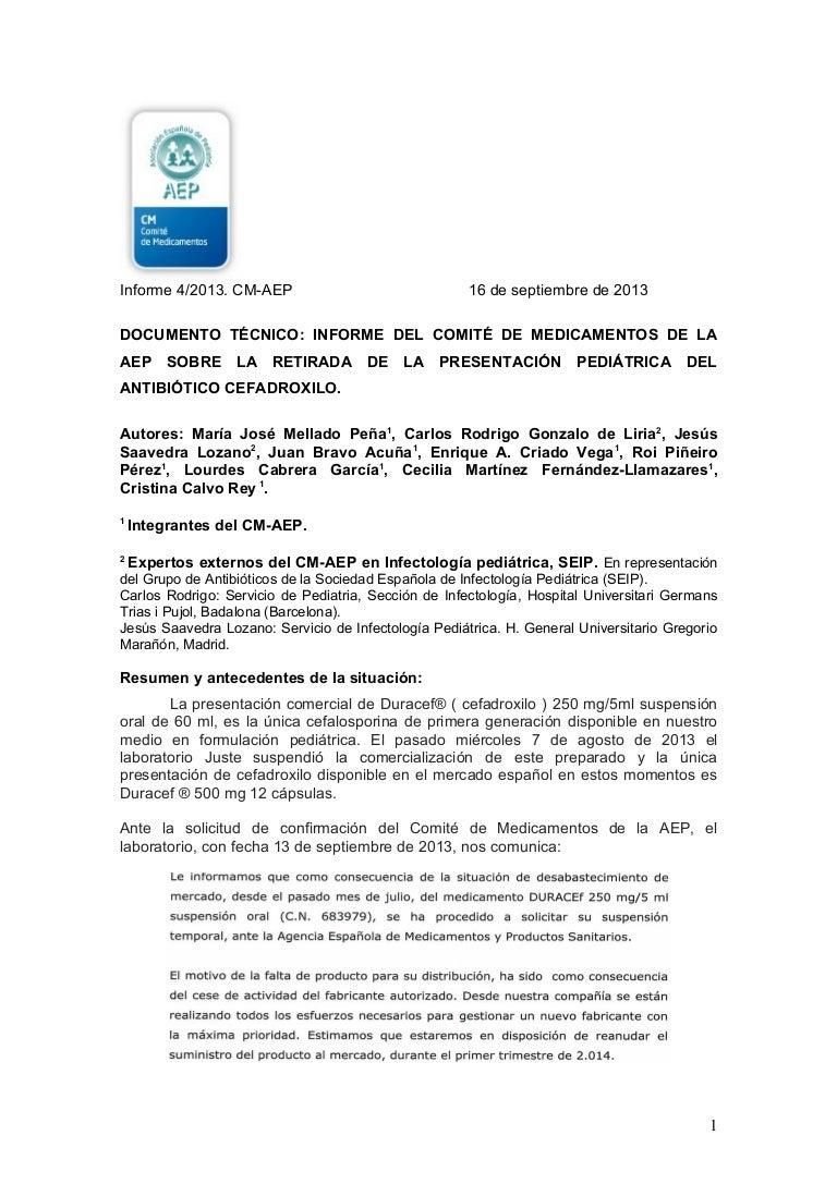 Informe técnico del Comité de Medicamentos de la AEP