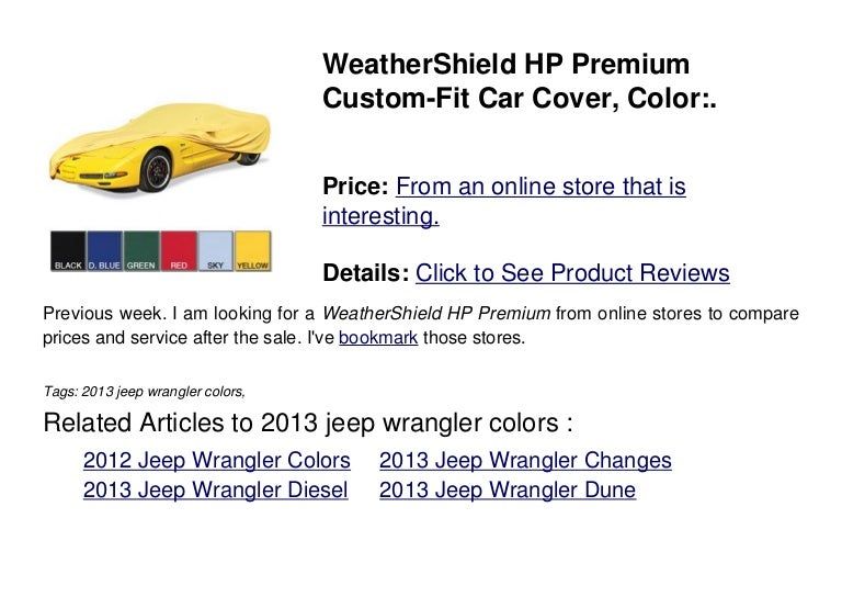 2013 Jeep Wrangler Colors