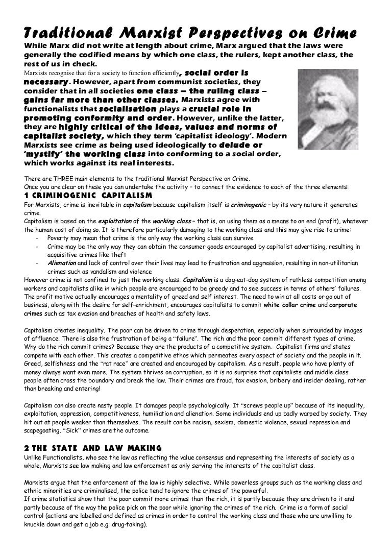 critical comparison of functionalist and traditional marxist perspectives on crime 162 richard f sparks the purpose of this essay, then, is to analyze the criminologi- cal theories and claims of a group of writers, most of whom are marxists or approach the study of crime from a marxist perspec.