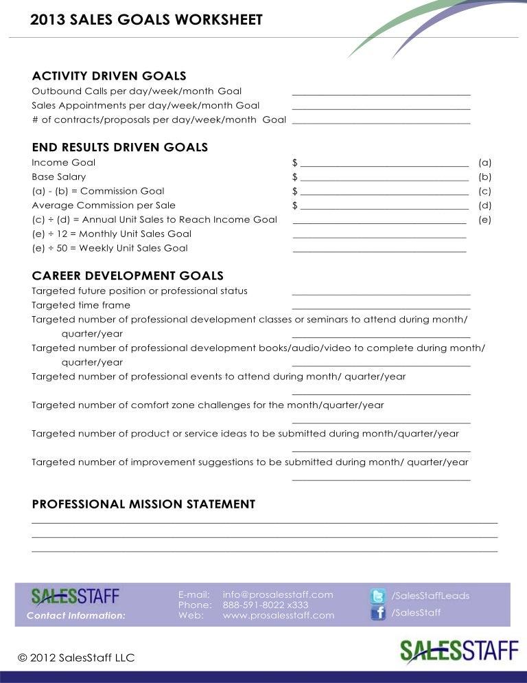 Sales Agreement Template >> B2B Sales Goals Worksheet