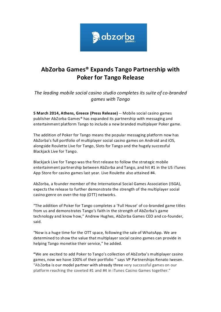 2014 03 05 Ab Zorba Games Expands Tango Partnership With Poker Releas