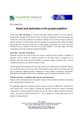 Good and bad news on tin project pipeline - Oct 2014 - ITRI & Greenfields Research - PRESS RELEASE