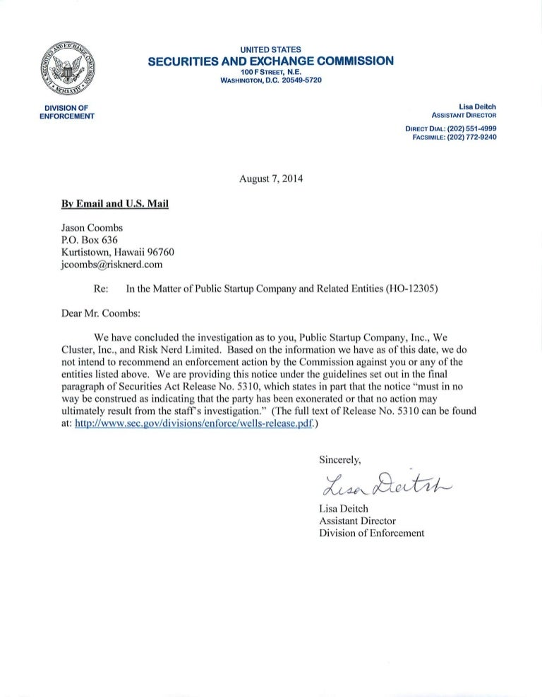 jobs act rule 506(c) formal investigation closing letter from the sec…