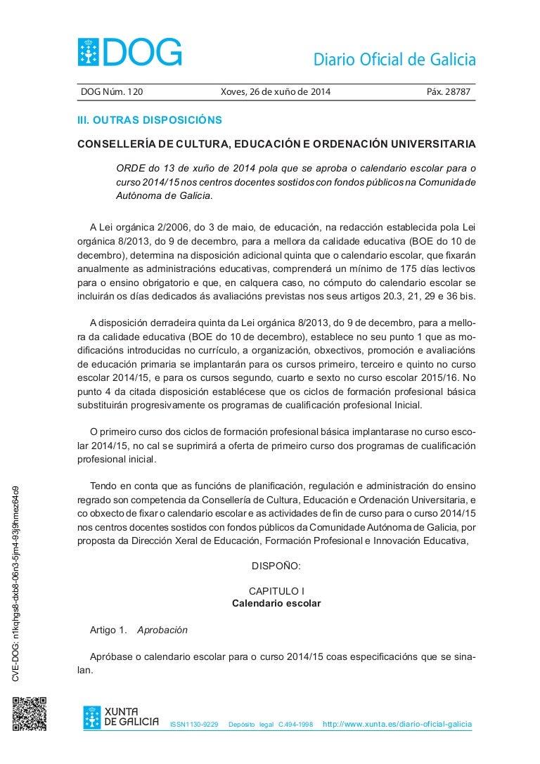Calendario Escolar Xunta.Calendario Escolar 2014 2015