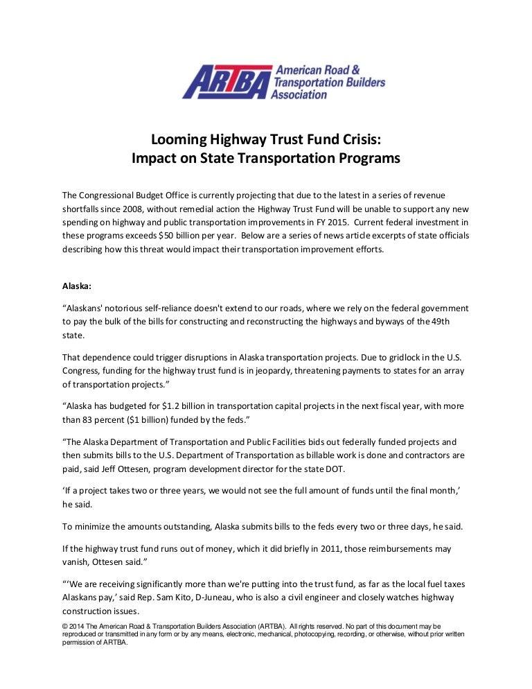 7/9/2014 Highway Trust Fund Crisis