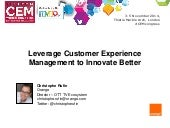 Leverage Customer Experience Management to Innovate Better