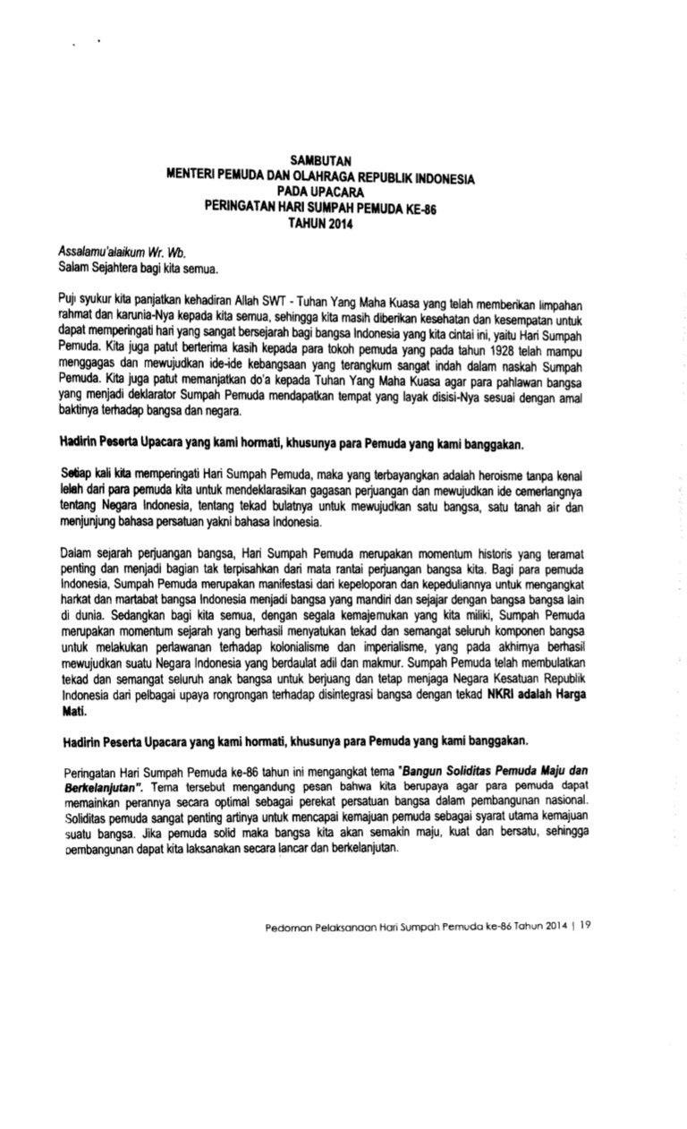 Bahasa Indonesia Dengan Sumpah Pemuda Sambutan Menpora Sumpah Pemuda 2014