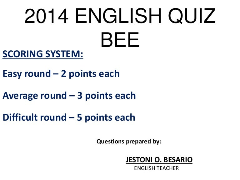 2014 english quiz bee best