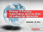 Energy in Factory Automation and the Role of Industrial Networks