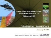 Unmanned Aircraft System (UAS) 3D Product Comparisons to Airborne LiDAR