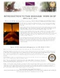 Introduction to Thai Massage Continuing Education Workshop