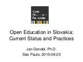 Open Education in Slovakia: Current Status and Practices