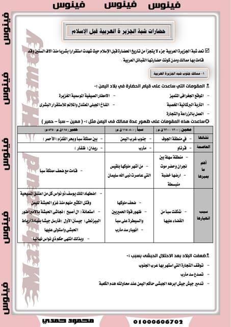 تاريخ الصف الثانى الثانوى 2015 الدر...