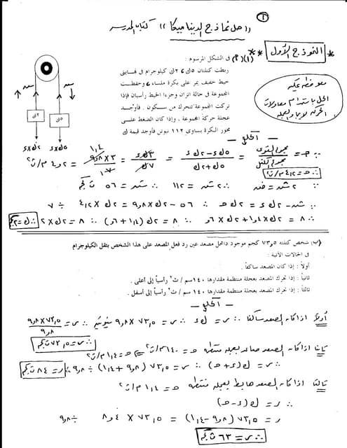 حل نماذج كتاب المدرسه ديناميكا غزال...