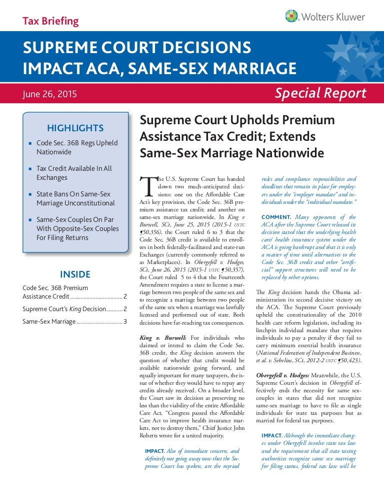 Tax briefing supreme court decisions impact aca same sex marriage fandeluxe Images