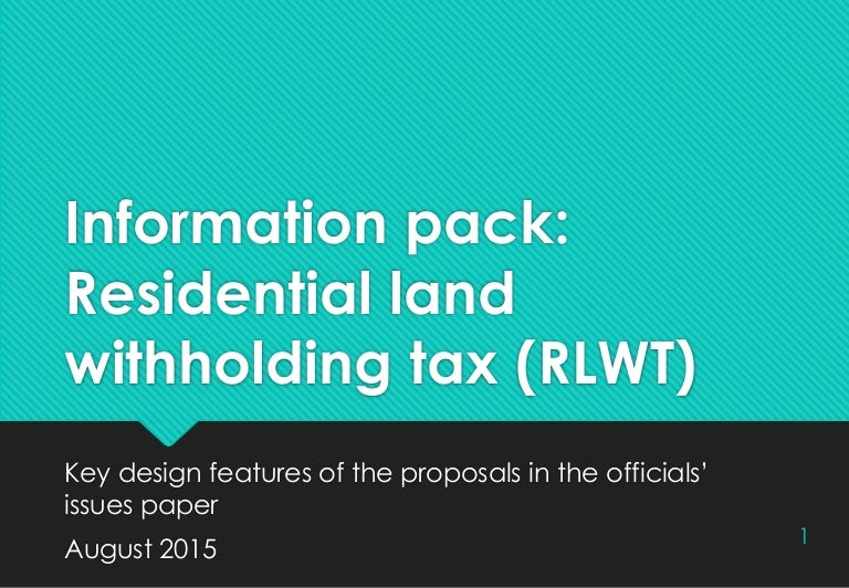 Residential Land Withholding Tax