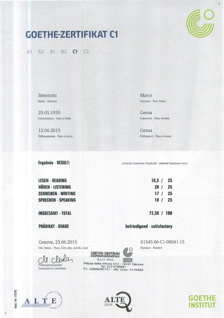 Goethe Institut Zertifikat
