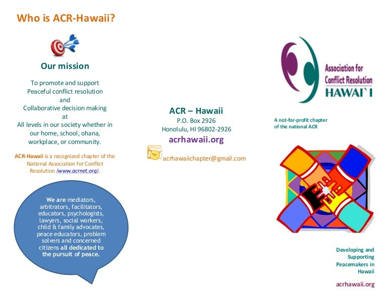 Association for Conflict Resolution Hawaii Chapter Flyer