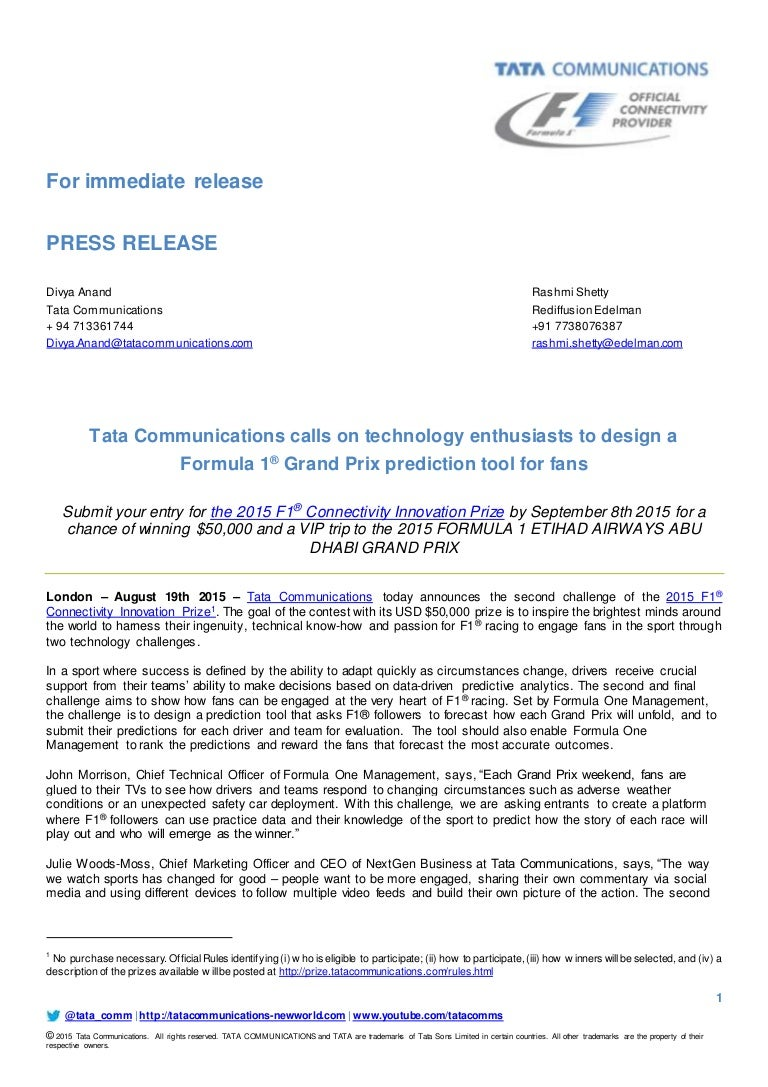 2015 F1 Connectivity Innovation Prize press release