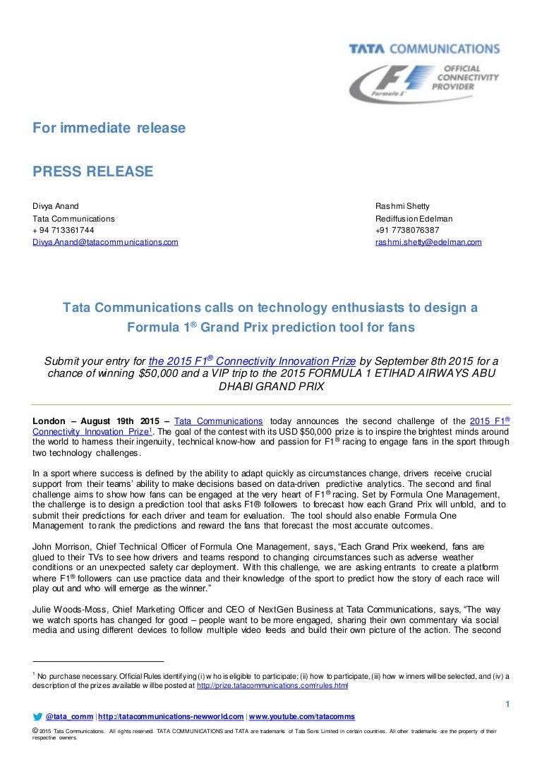 2015 F1 Connectivity Innovation Prize press release