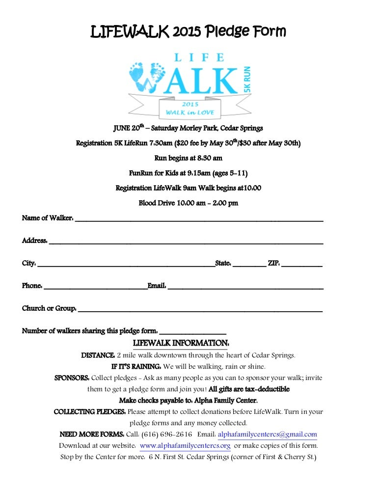 Lifewalk Pledge Form Pdf