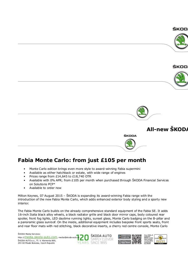 2015 Skoda Fabia Monte Carlo Prices Uk Press Release