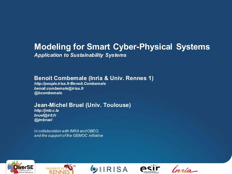 Modeling For Smart Cyber Physical Systems Jan 26th 2016