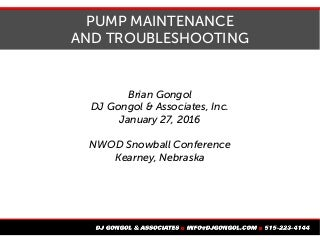 Pump Maintenance and Troubleshooting