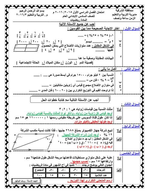 رياضيات محافظة الشرقية دور يناير 2016+ نموذج إجابة