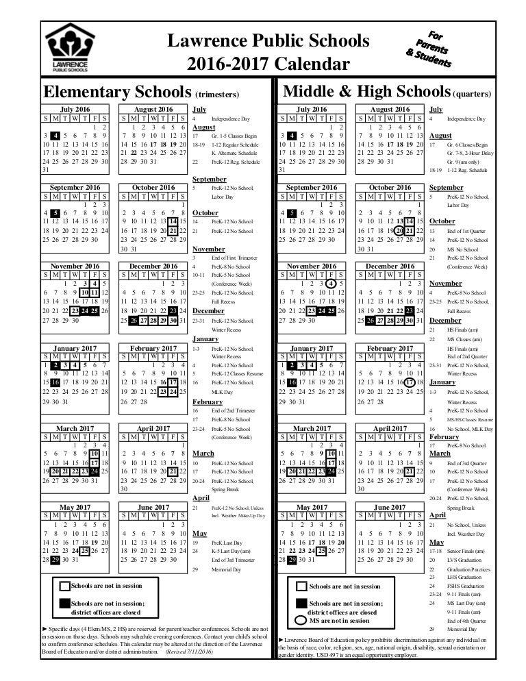 2016 2017 Parent Calendar