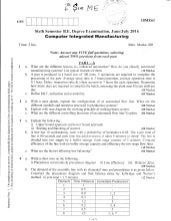 6th Semester Mechanical Engineering (June-2016) Question Papers