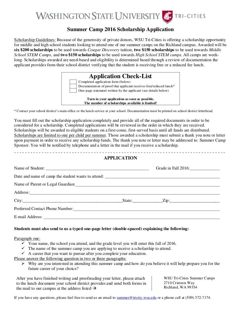 SummerCampScholarshipApplicationForm