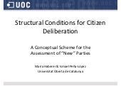 "Structural Conditions for Citizen Deliberation: A Conceptual Scheme for the Assessment of ""New"" Parties"