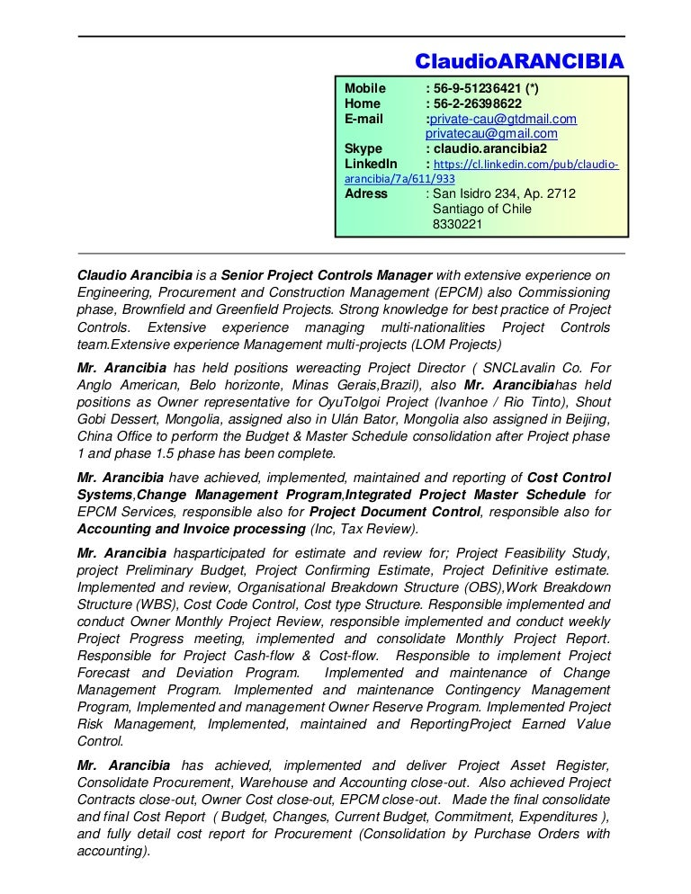 Construction Manager Resume Example - Sample