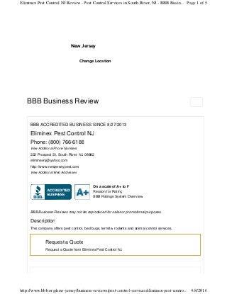 Better Business Reviews Pest Control Old Bridge NJ 732-284-3807