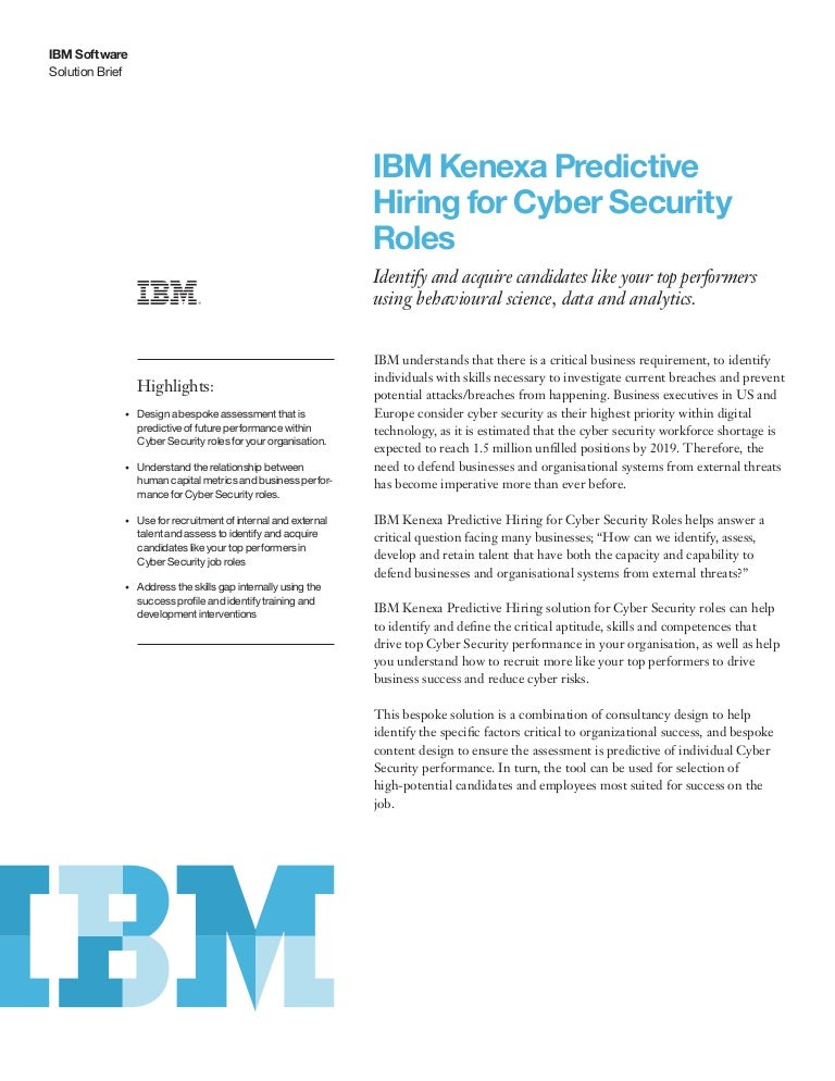 Ibm Kenexa Predictive Hiring For Cyber Security Roles
