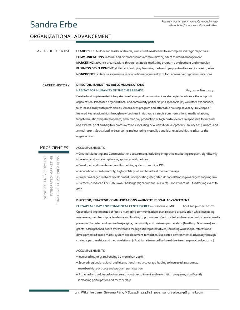 2016 sandra erbe  resume organizational advancement