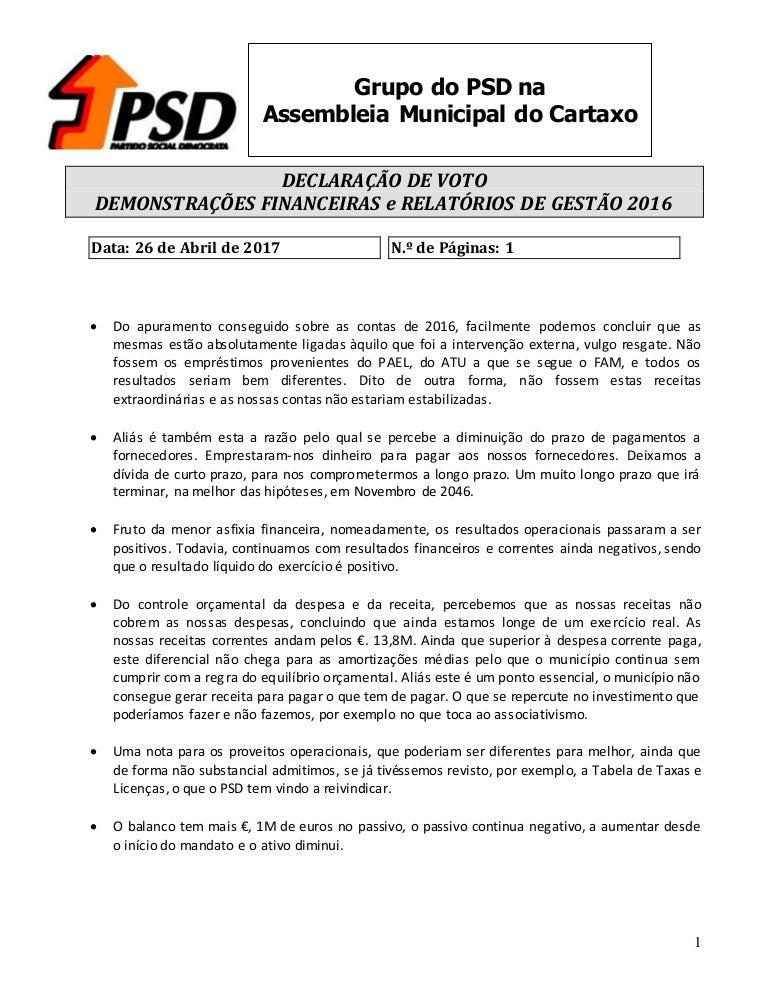 declaração de voto demonstraÇÕes financeiras e relatÓrios de gestÃo\u2026