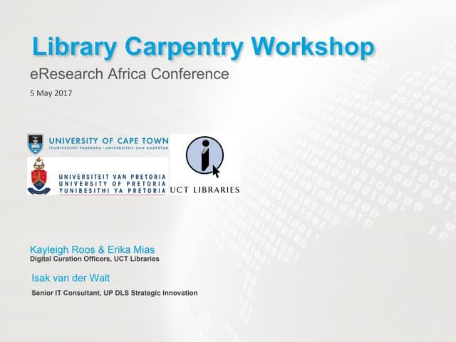 Data Intro for Librarians: Data Carpentry Workshop eRA2017