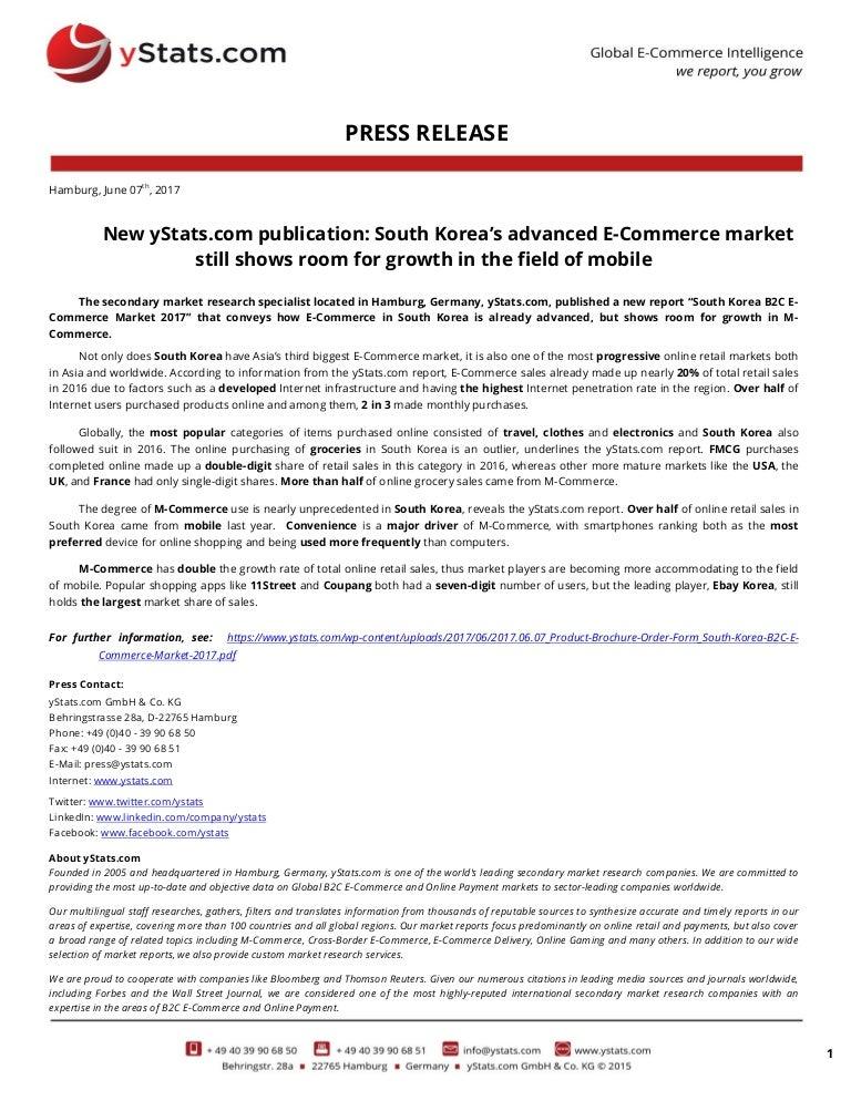 Press Release South Korea B2c E Commerce Market 2017