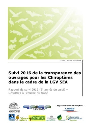 Suivi Transparence Chiroptères - 2016 - PCN