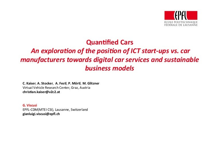 Technology Management Image: Quantified Cars: An Exploration Of The Position Of ICT