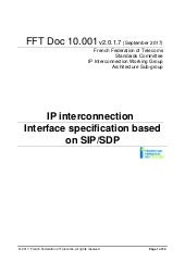 IP interconnexion : interface specification based on SIP/SDP (v2.1)