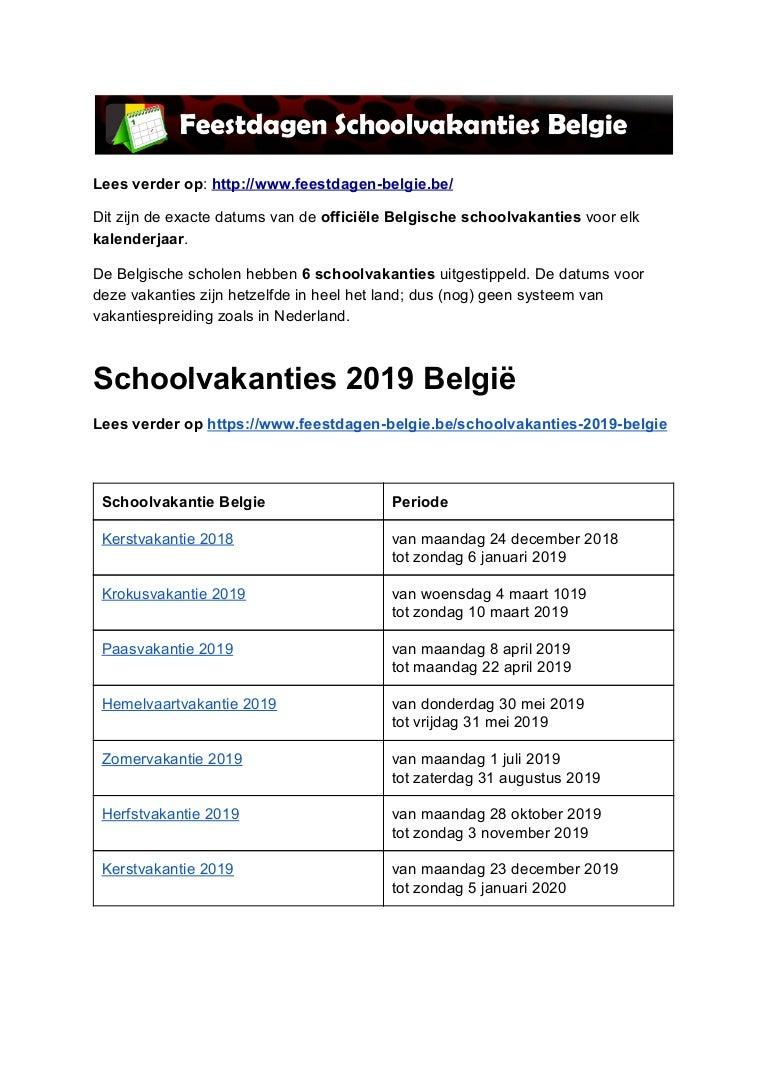 Kalender 2019 Met Feestdagen En Vakanties