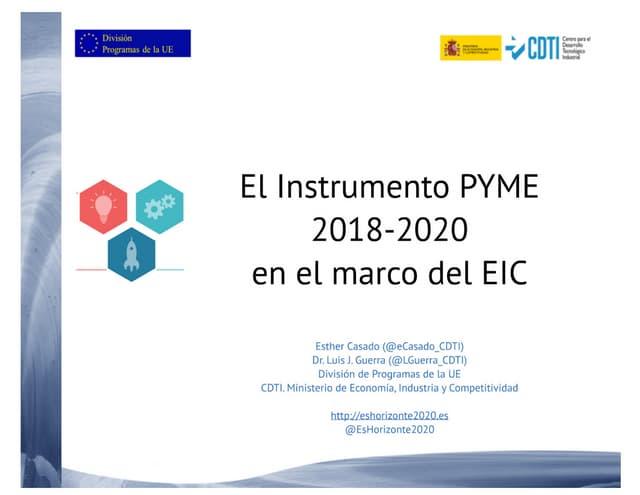 20171123 El instrumento PYME en el marco del EIC 2018-2020