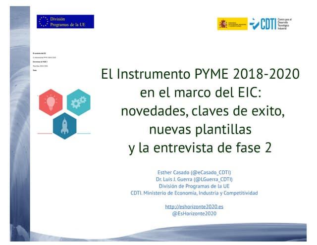 20171219 Claves del instrumento PYME en el entorno del EIC  2018 20 sevilla