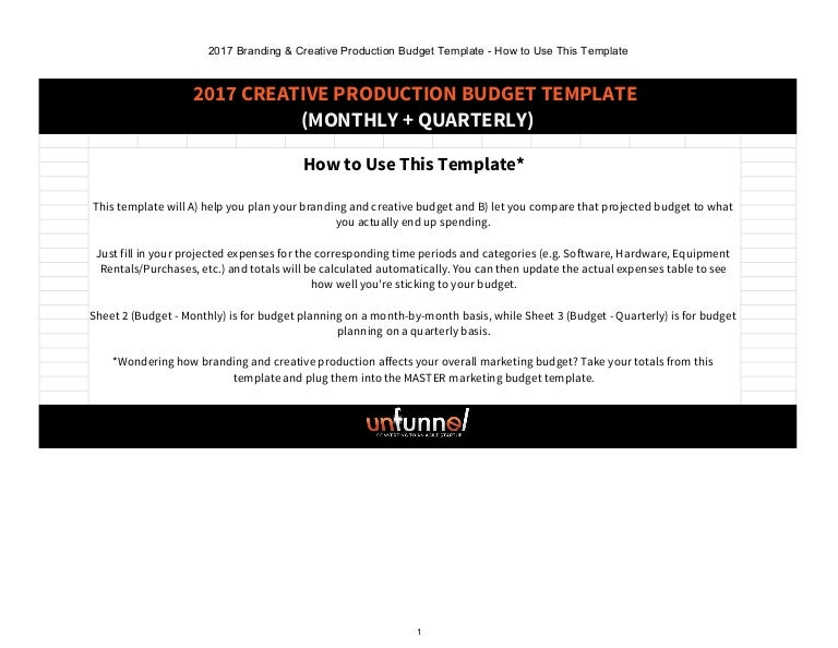 2017 branding creative production budget excel template